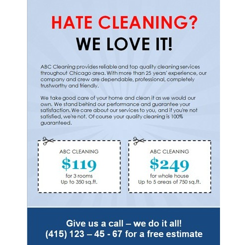 cleaning adverts examples sample business flyer delli beriberi co