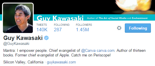 guy kawasaki twitter profile