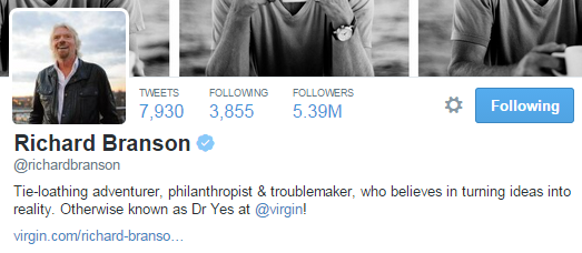 richard branson twitter profile