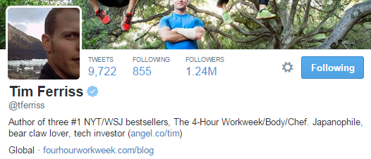 tim ferriss twitter profile