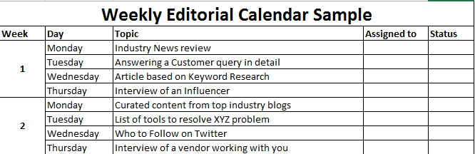 content marketing editorial calendar sample weekly