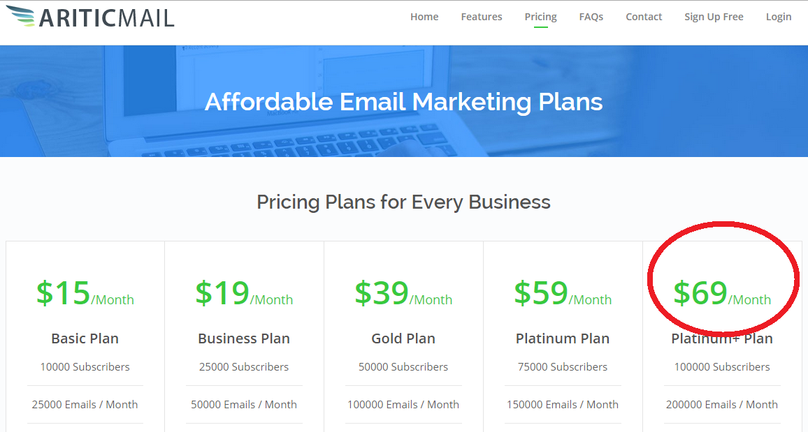 ariticmail pricing plans