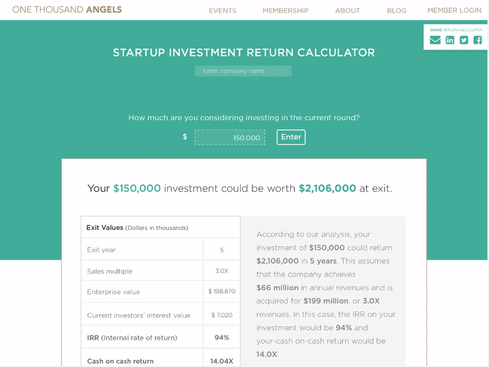 startup return calculator main image