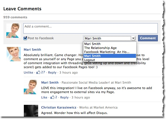use facebook comment plugin