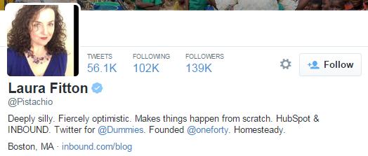 laura fitton twitter profile