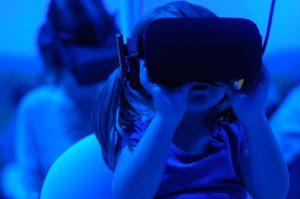 Girl using VR