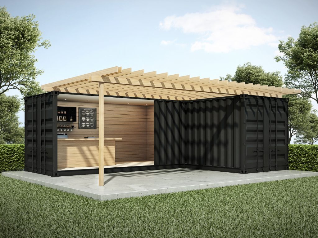 Exterior container bar in garden 3D render
