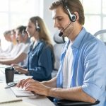 customer support people phone operator with headset working in call center