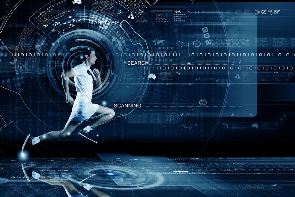 man running in digital background