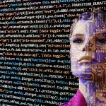 woman looking at coding