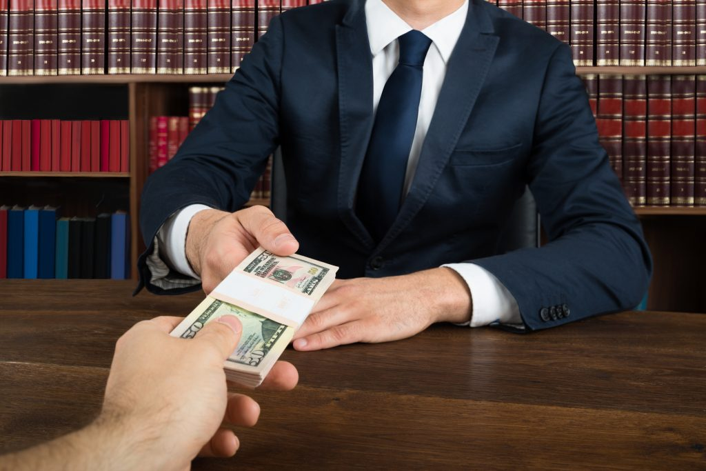 lawyer accepting money