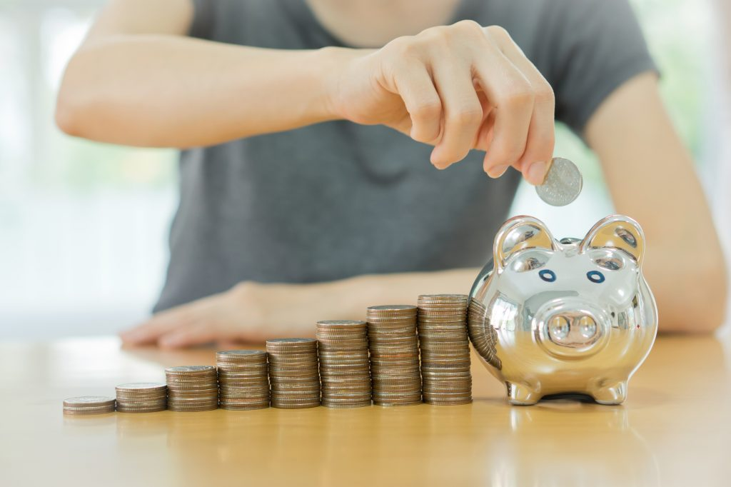 man saving money