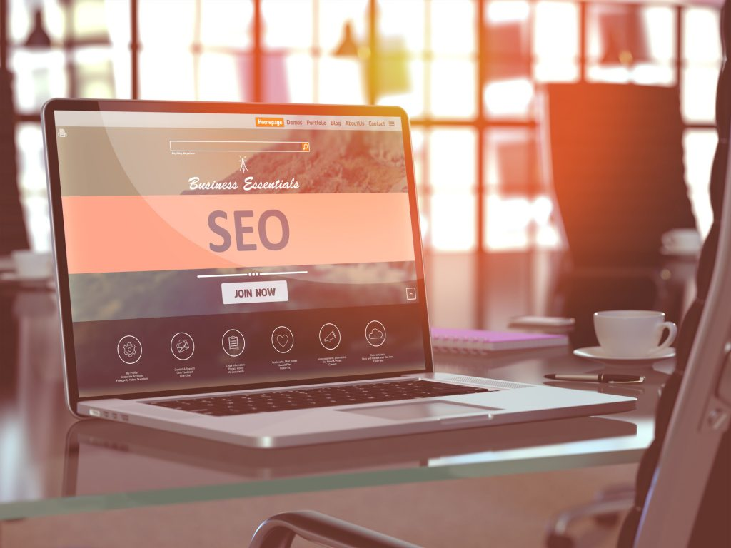 Laptop Screen with SEO Concept