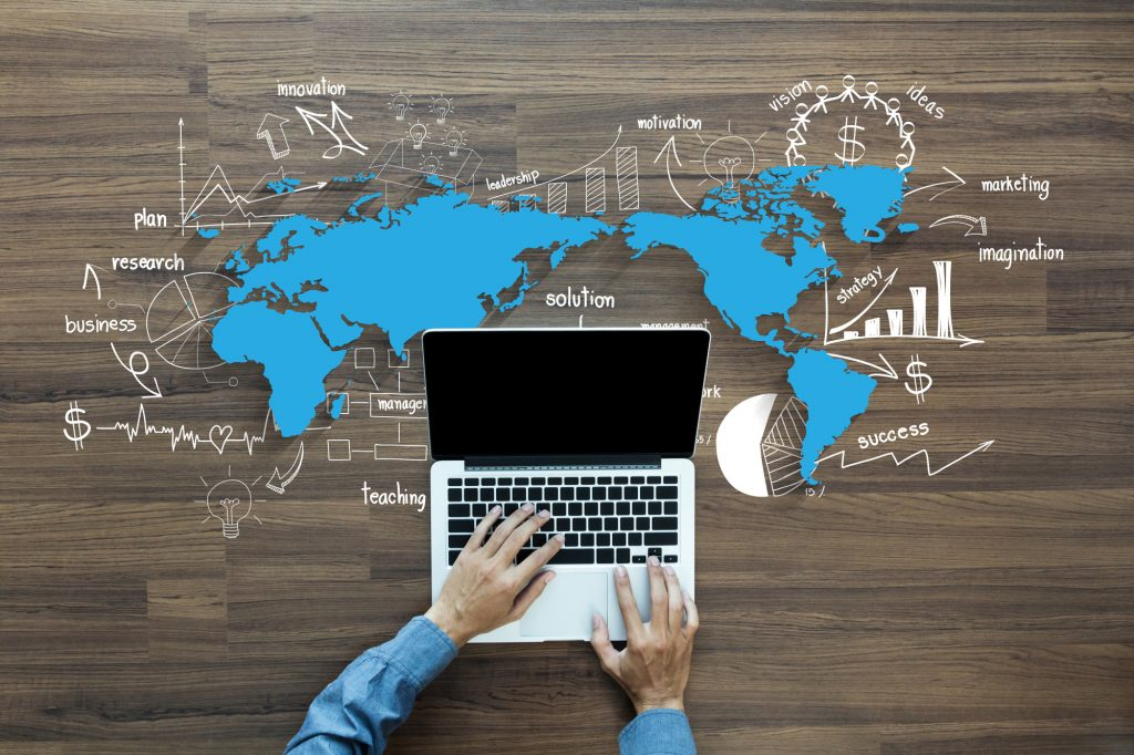 World map and laptop
