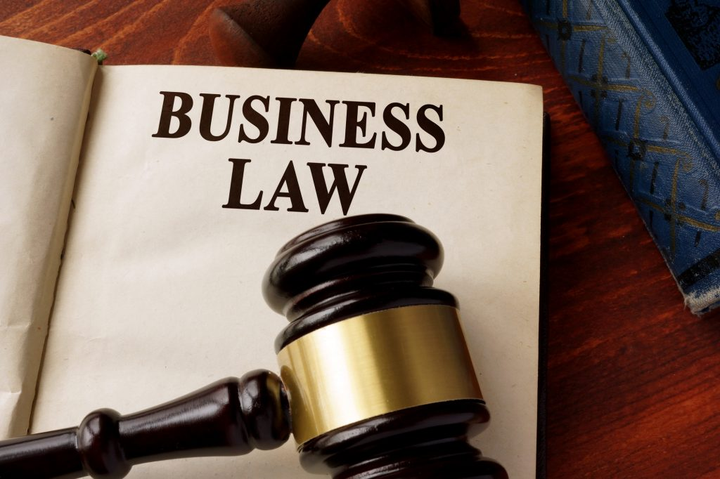 Book with title business law on a table.
