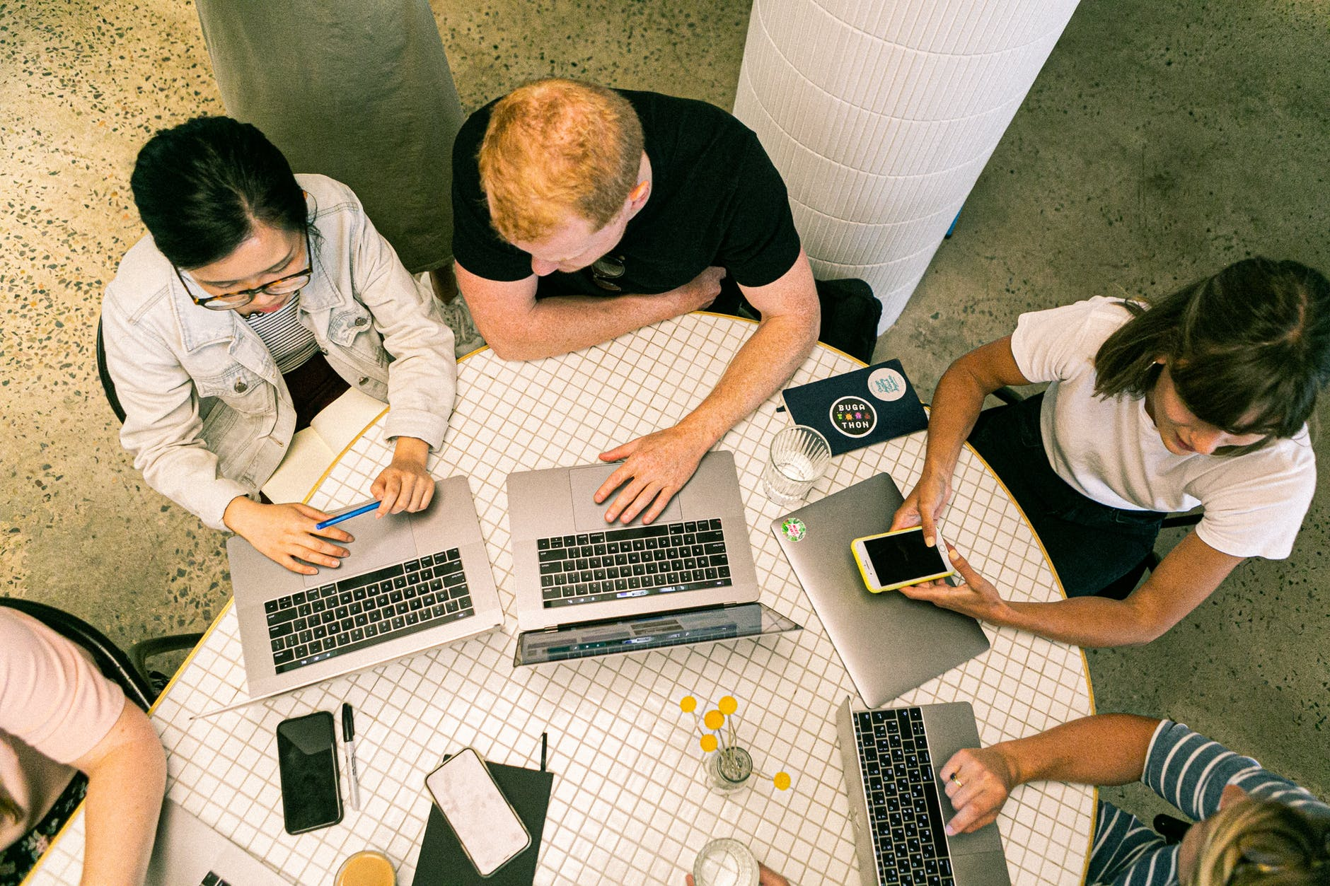 group working on a laptop
