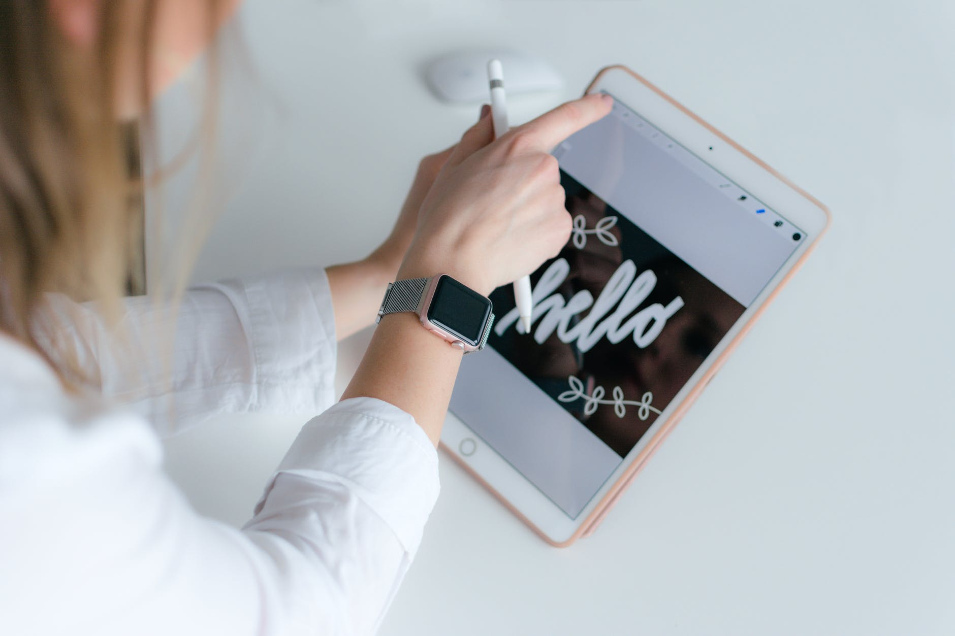 a lady using a gadget