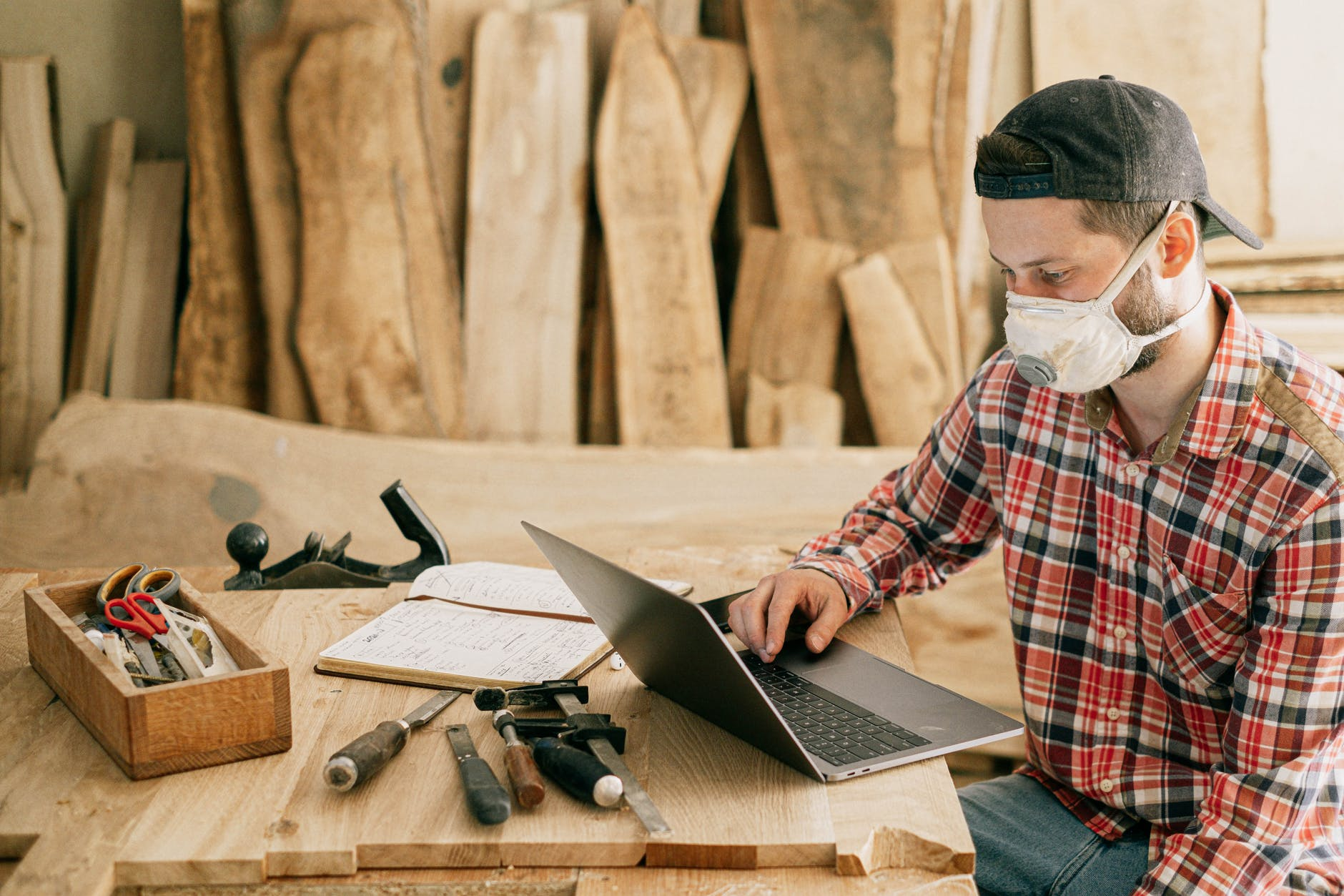 a man working on his laptop