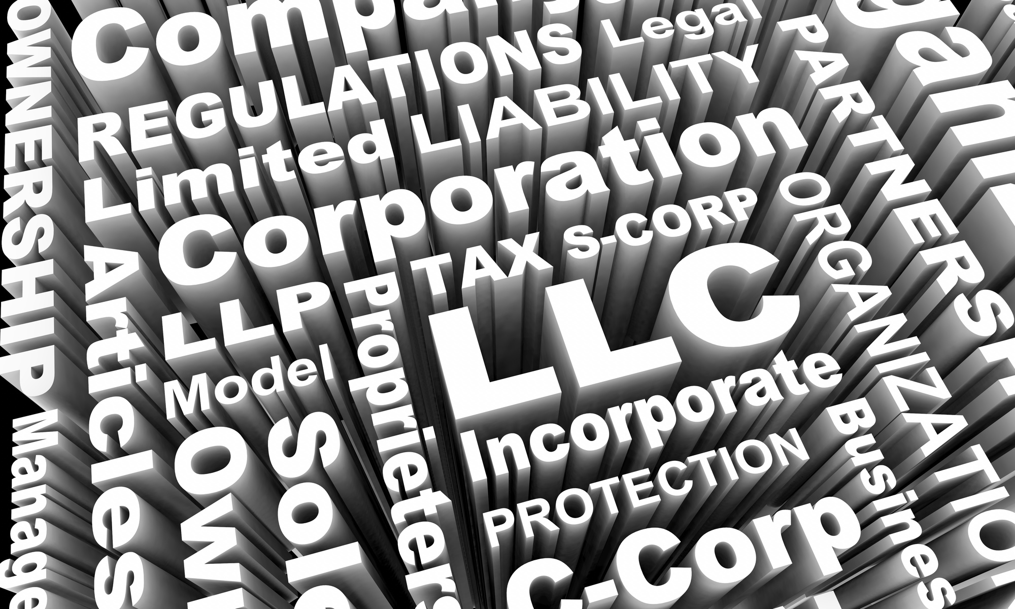 image of llc and corporation words